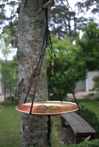Mini Spun Copper Dish in Macrame Hanger