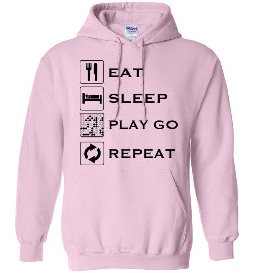 Eat, Sleep, Play Go, Repeat - Hoodie Black Text