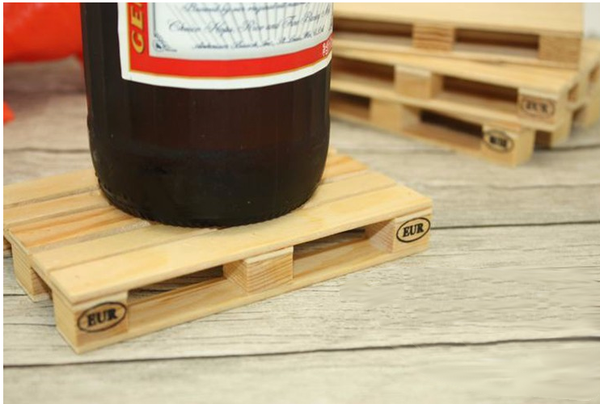 Wood crate drink coasters (set of 4)