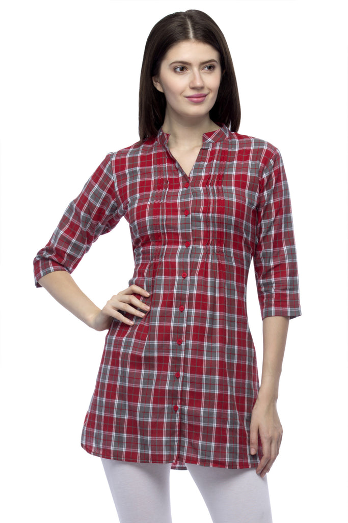 446c397fac1 Buy Women's Cotton Red Tunic at best prices in India   One Femme ...