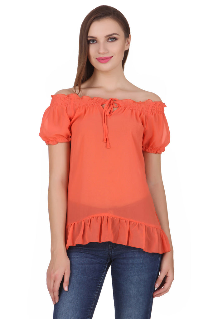27a29ca5241 All; Women's Chiffon Solid Color Off-Shoulder Top / Blouse. womens  polyester orange tops FRN-1