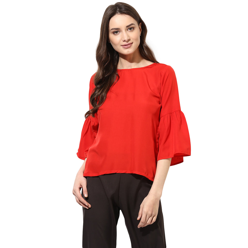 d4ad21b0880 Buy Women s Poly-Crepe Red Tops at best prices in India