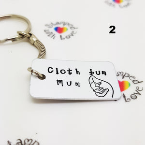 Stamped with Love - Cloth Bum Mum Keyring, handmade in Hampshire, UK