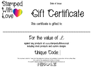 Stamped with Love - Gift Certificate - £10, handmade in Hampshire, UK