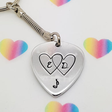 Stamped with Love - Our Hearts Beat As One Plectrum Keyring, handmade in Hampshire, UK