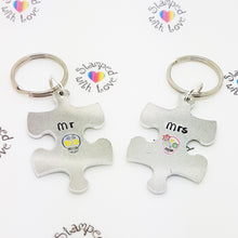 Stamped with Love - Mr & Mrs Sugar Skull Keyring, handmade in Hampshire, UK