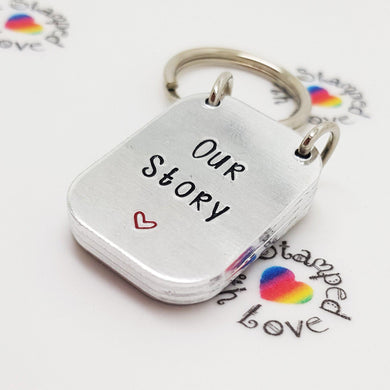 Our Story Keyring - Stamped with Love