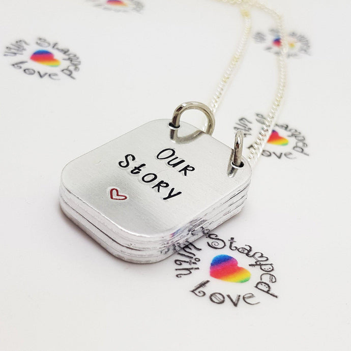 Stamped with Love - Our Story Necklace, handmade in Hampshire, UK