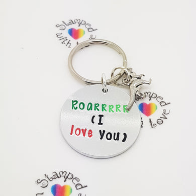 Stamped with Love - *Clearance* Roarrrrr Keyring, handmade in Hampshire, UK
