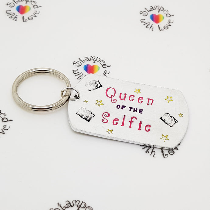 Stamped with Love - Queen of the Selfie Keyring, handmade in Hampshire, UK
