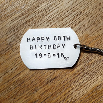 Stamped with Love - Birthday Dog Tag, handmade in Hampshire, UK
