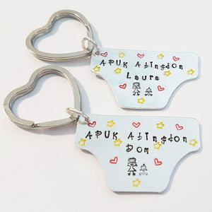 Stamped with Love - Cloth Nappy Keyring, handmade in Hampshire, UK