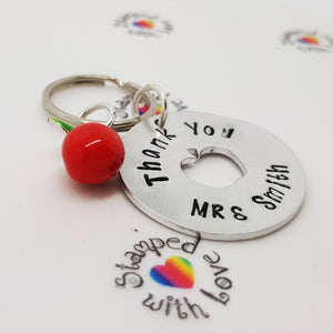 Teacher Gift, End of Term, Apple Keyring, Keychain, new school, end of school, Personalised Gift, Best Teacher, apple charm, Handmade - Stamped with Love