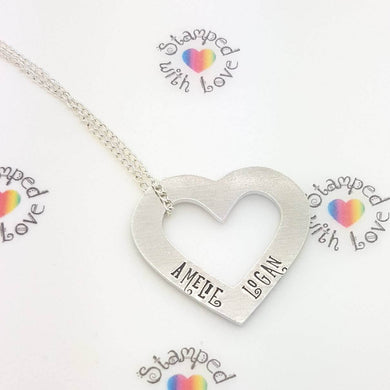 Stamped with Love - Open Heart Necklace, handmade in Hampshire, UK