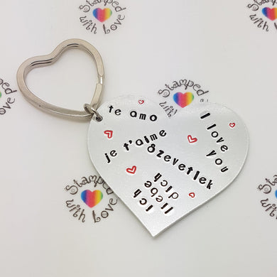 I love you, te amo, je t'aime, ich liebe dich, Szevetlek keyring, Christmas, handmade, wedding gift, anniversary present, birthday, mum - Stamped with Love