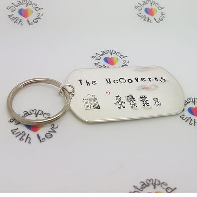 Stamped with Love - Family Keyring - Sterling Silver, handmade in Hampshire, UK