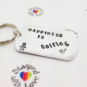 Happiness is Golfing Keyring - Stamped with Love