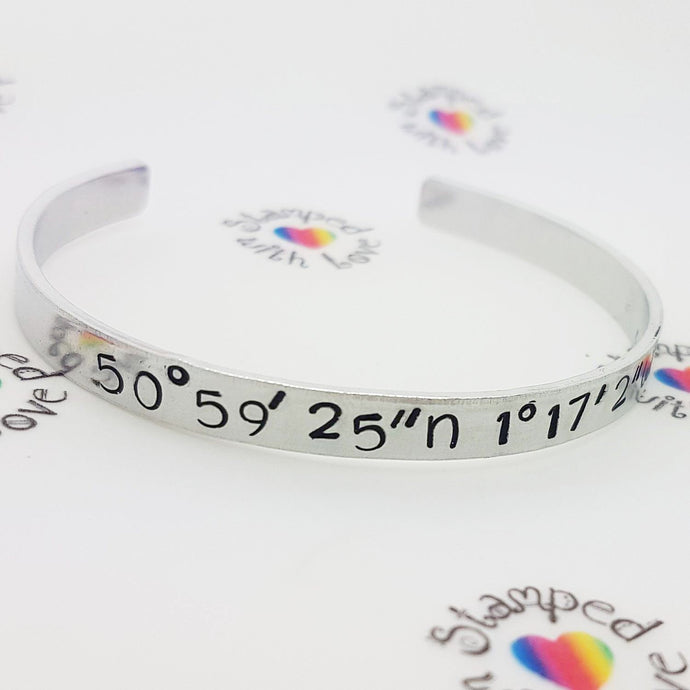 Stamped with Love - Coordinates Bracelet, handmade in Hampshire, UK