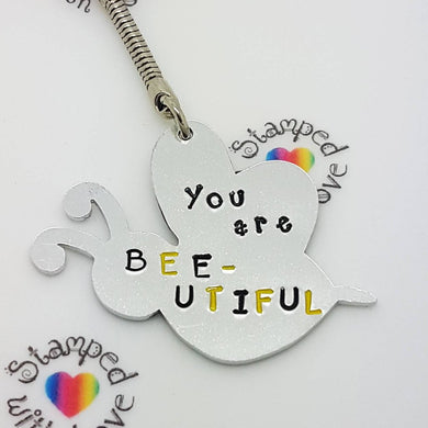 Stamped with Love - Bee-utiful Keyring, handmade in Hampshire, UK