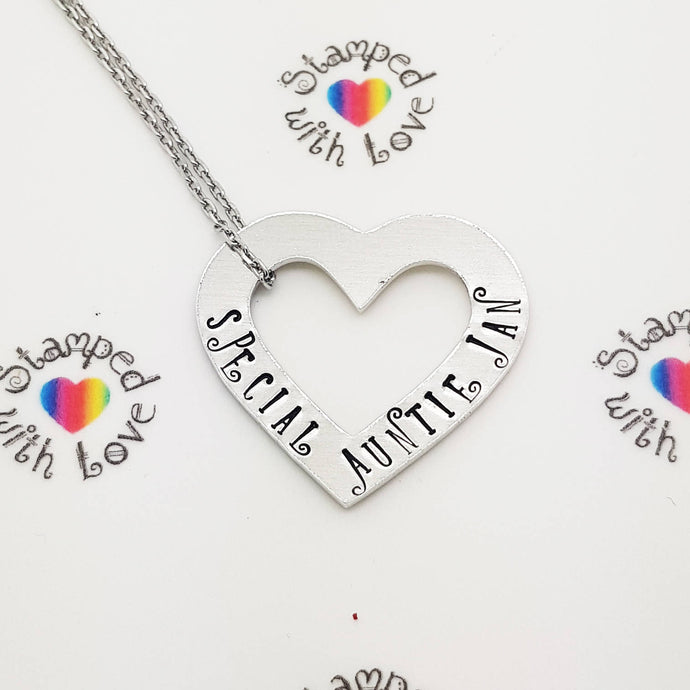 Open Heart Necklace - Stamped with Love