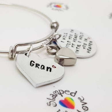 Stamped with Love - Adjustable Heart Cremation Bracelet, handmade in Hampshire, UK