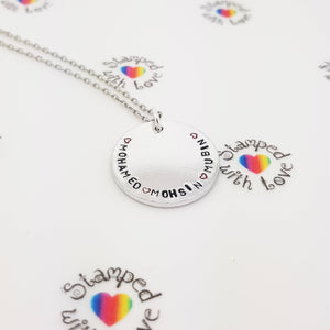 Stamped with Love - Disk Necklace, handmade in Hampshire, UK