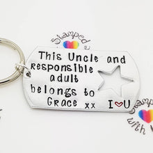This Uncle Belongs to Keyring, christening gift, present for brother, brother in law, naming ceremony, responsible adult, joke key chain - Stamped with Love