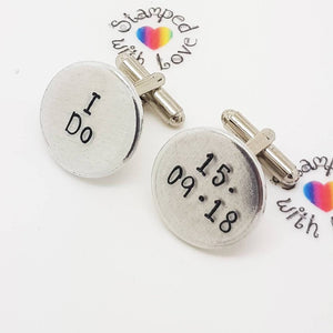 Stamped with Love - I Do Cufflinks, handmade in Hampshire, UK