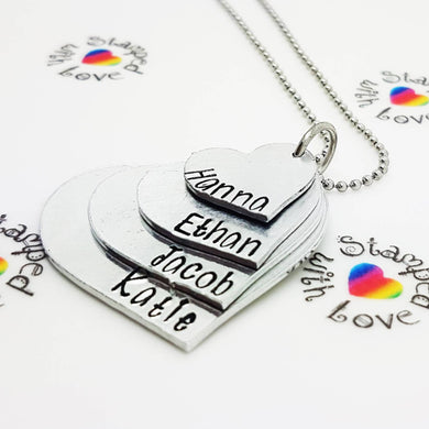 Stamped with Love - 4 Piece Heart Necklace, handmade in Hampshire, UK
