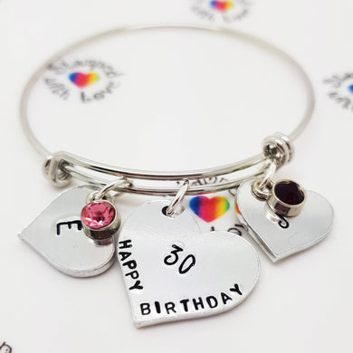 Adjustable Birthday Bracelet - Stamped with Love