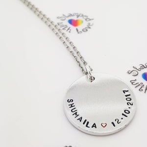 Disk Necklace - Stamped with Love