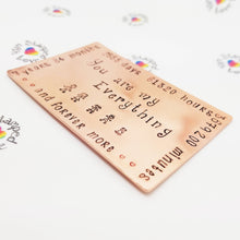 Stamped with Love - Copper Wallet Card, handmade in Hampshire, UK