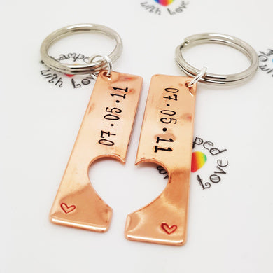 Copper Heart Cut Out Keyring - Stamped with Love