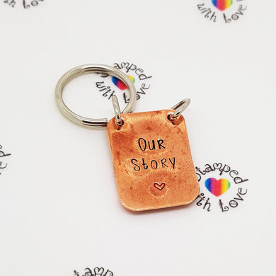 Our Story Copper Keyring - Stamped with Love