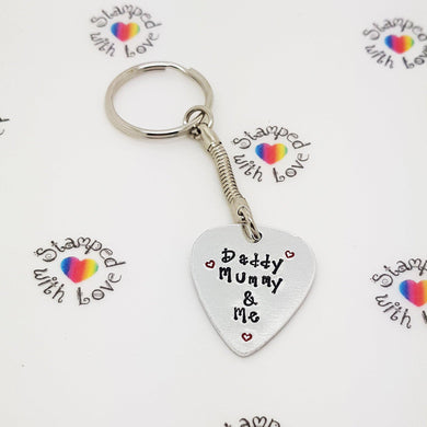 Stamped with Love - Daddy, Mummy and Me Keyring, handmade in Hampshire, UK