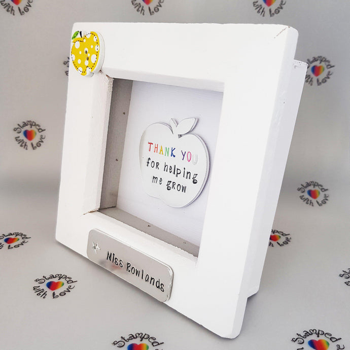 Stamped with Love - Thank you for helping me grow, personalised frame, end of term, teacher gift, name plate, handmade, keyworker, classroom assistant,, handmade in Hampshire, UK