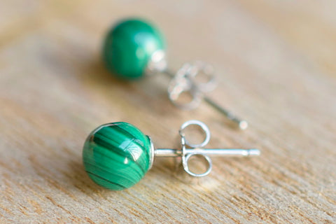 Malachite studs earrings