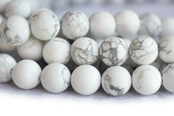 "15.5"" 8mm/10mm Matte/frosted natural white howlite round beads, White gemstone - GemWholesales"