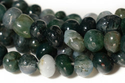 "15.5"" natural 3~5mm green moss Agate Pebble beads Gemstone"