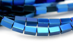 "15.5"" 2x4mm Blue Hematite stone rectangle tube beads"