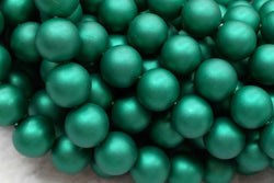 "15.5"" 8mm/10mm Silky Matte Shell pearl round beads dark green color"