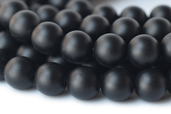 "15.5"" Matte/frosted black onyx 8mm/10mm/12mm agate round beads,gemstone - GemWholesales"