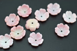 10PCS 10mm pink MOP flower,pink queen conch shell flower - GemWholesales