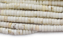 "15.5"" 4mm White howlite heishi tube beads, Ivory white beige stone"