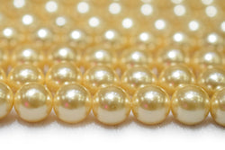 "15.5"" 8mm/10mm Luster yellow Shell pearl round beads,TYB"