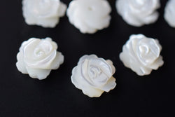 10pcs 10mm Natural white MOP rose flower,mother of pearl