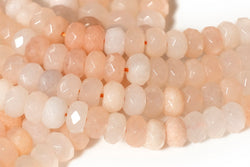 "15.5"" 5x8mm natural light pink aventurine roundel faceted beads,light yellow color gemstone rondelle beads"