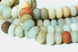"15"" Matt finish Natural amazonite 5x8mm rondelle beads,multi color amazonite disc"