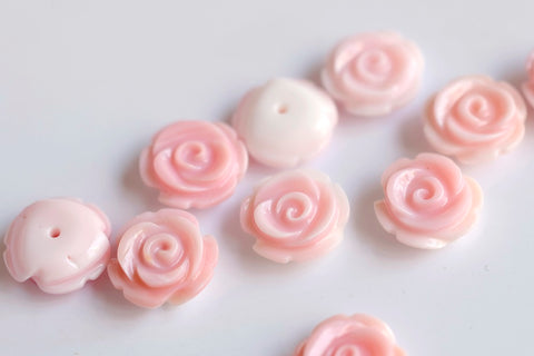 10PCS 12mm Natural pink queen conch shell rose flower