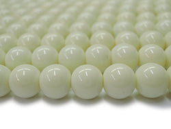 "15.5"" Glass druk round beads beige 6mm/8mm/10mm/12mm"